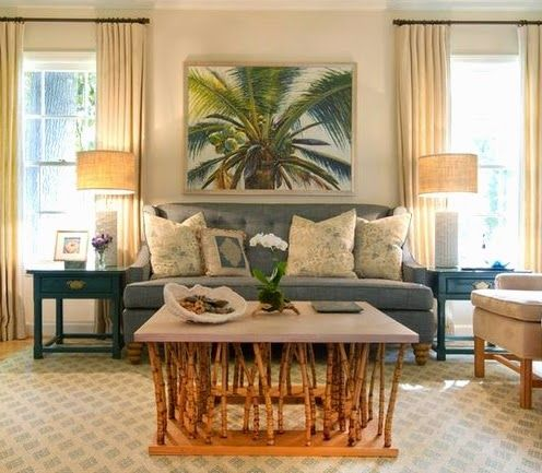 Ordinaire Lush Living With Tropical Living Room Decor   Completely Coastal   Wall  Color And Palm Tree
