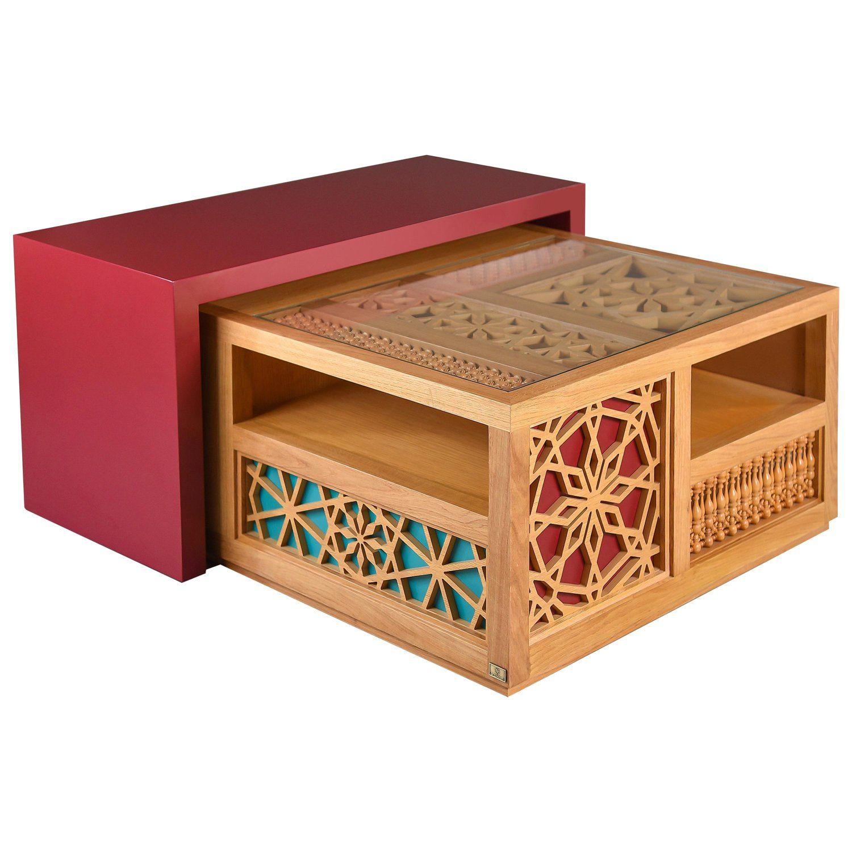 Mashrabiya Center Table Modern Oriental Coffee Table In Arabesque Pattern Style Arabesque Pattern Coffee Table Design Center Table [ 1500 x 1500 Pixel ]