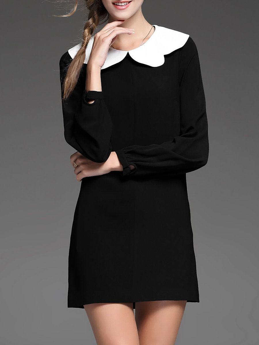 Adorewe nedo black colorblock plain shift long sleeve mini dress