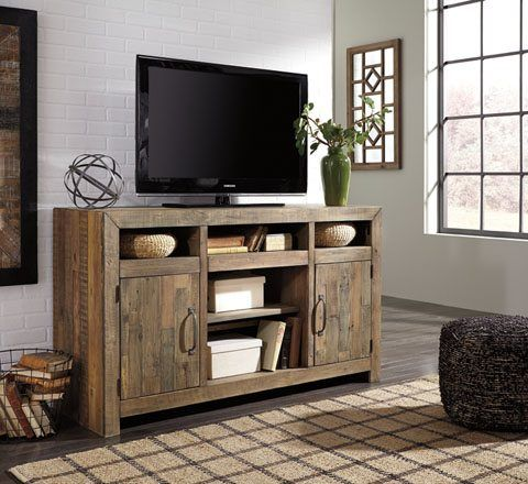"Ashley Furniture ""Sommerford"" TV stand with optional fireplace"