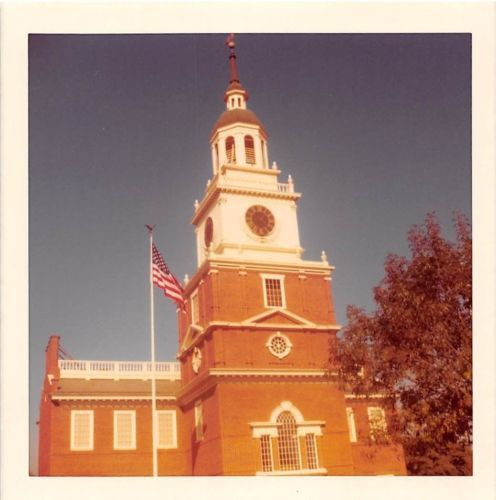 Photograph Snapshot Vintage Color: Clock Tower Building Flag 1970's