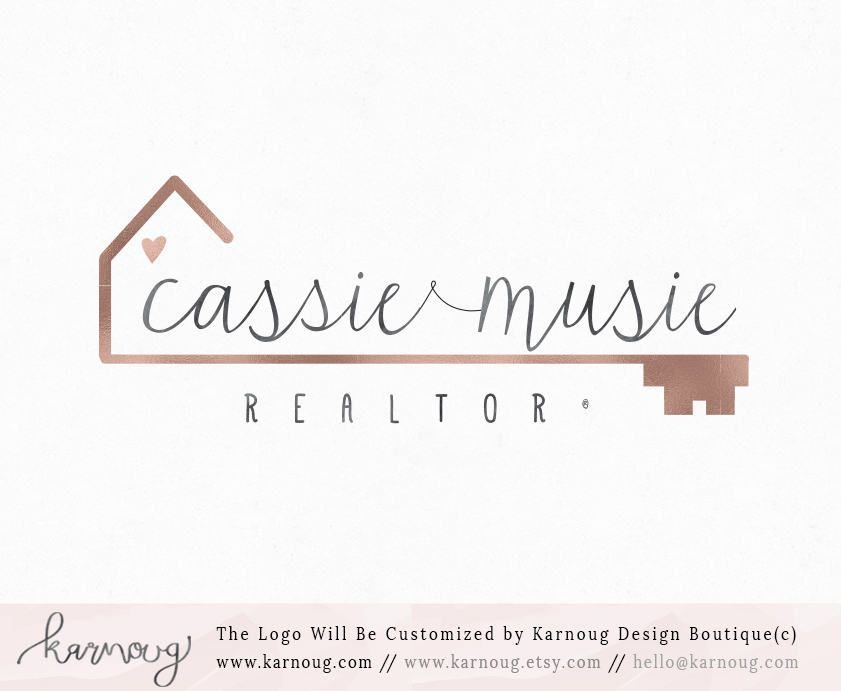 Real Estate Logo Realtor House Key Gold Premade Watermark Business Branding Digital By Karnoug On Etsy