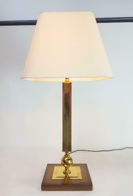 Large Vintage Tamed Wood And Brass Table Lamp 1950s For Sale At Pamono In 2020 Brass Table Lamps Table Lamp Lamp