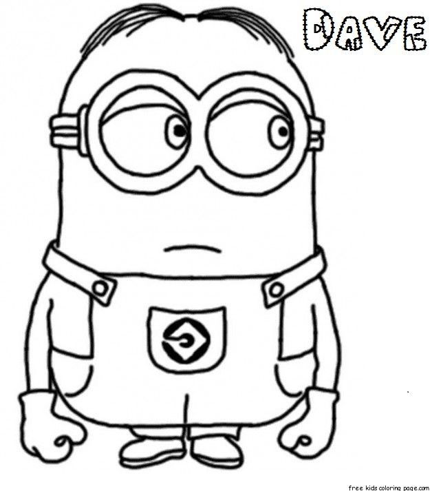 Print Out Dave The Minion Despicable Me 2 Coloring Pages Minion Coloring Pages Minions Coloring Pages Cartoon Coloring Pages