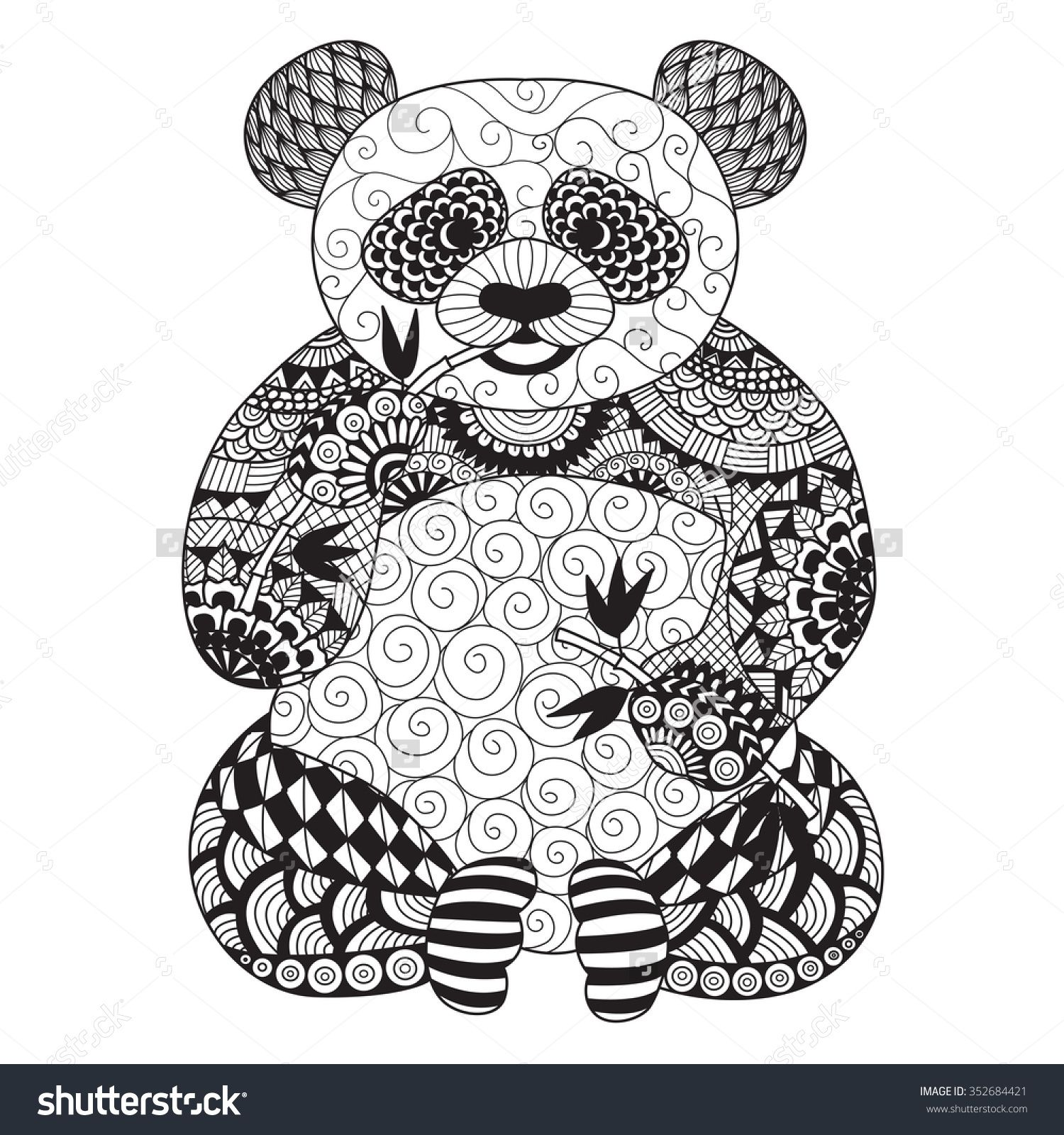 280e98385935a Hand Drawn Zentangle Panda For Coloring Book For Adult,Tattoo ...