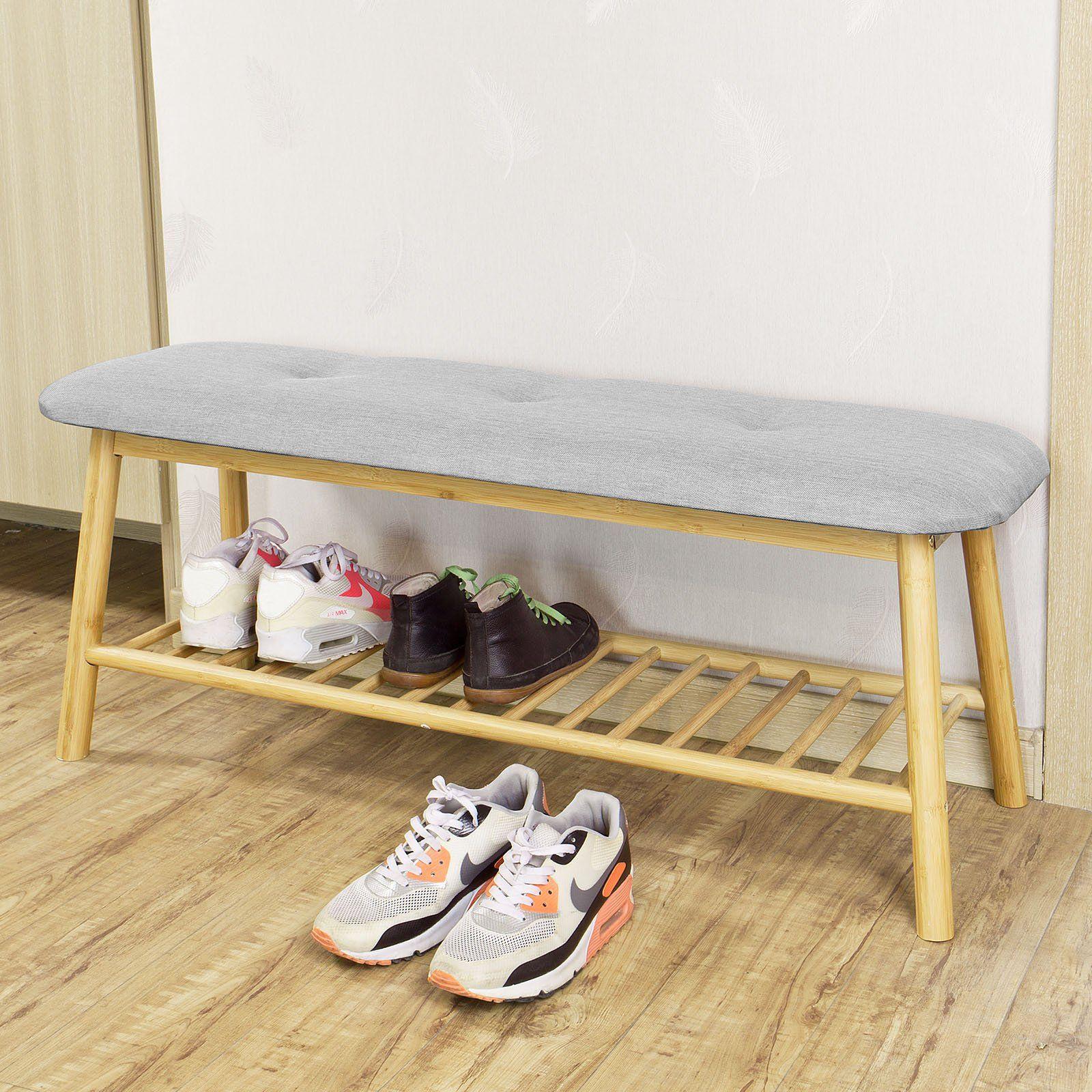 sobuy fsr24 hg banc rembourr design avec 1 tage de rangement meuble d 39 entr e banquette. Black Bedroom Furniture Sets. Home Design Ideas
