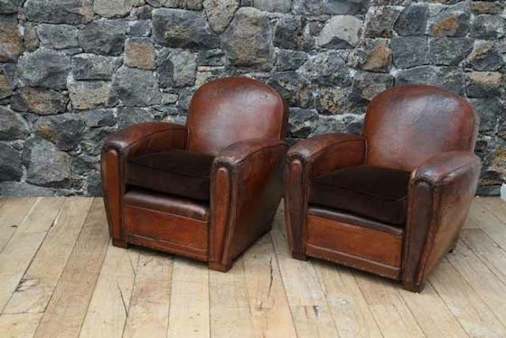 Captivating Pair Of Round Back Club Chairs