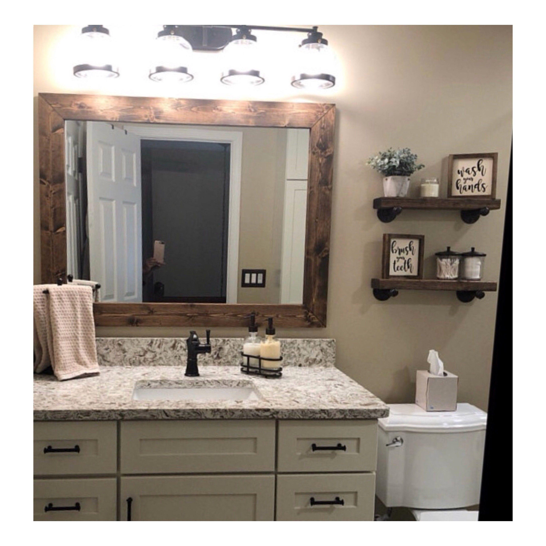 Dark Walnut Mirror Farmhouse Wood Frame Mirror Rustic Wood Mirror Bathroom Mirror Wall Mirror Bathroom Mirror Frame Modern White Bathroom Bathroom Mirror