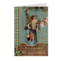 Blue Santa Christmas Card from Germany