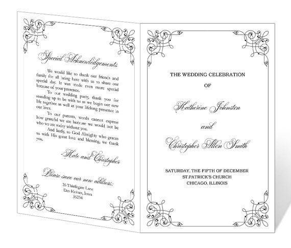 instant download wedding program template romance design on etsy