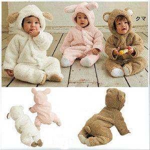 51c93db22337 Boy Girl Baby Clothes Winter Animal Onesie Fleece Jacket Coat Clothes Bear  0248D