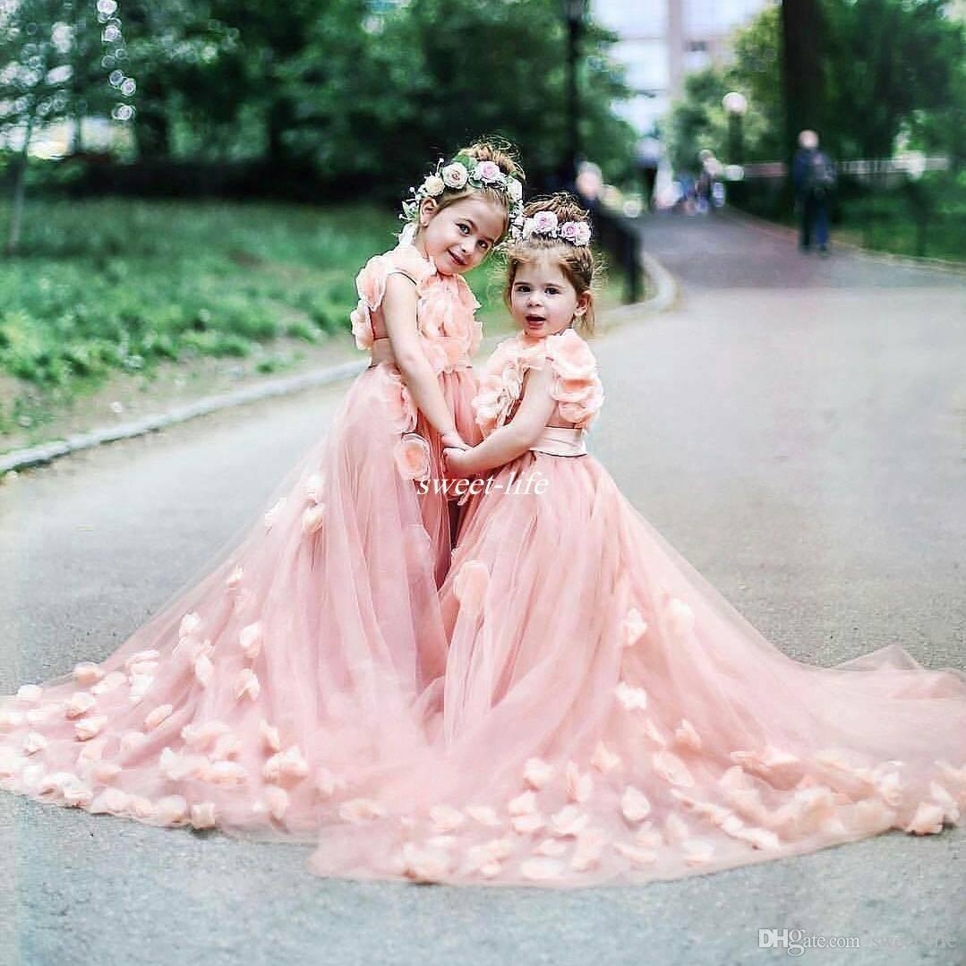 Lovely Garden Wedding Flower Girls Dresses Blush Pink with 3D Hand ...