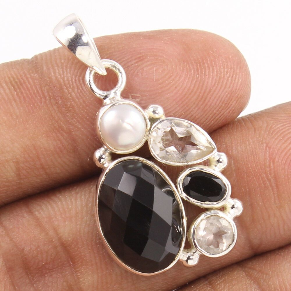 Amazing Pendant 925 Sterling Silver Multi-Color Gemstones