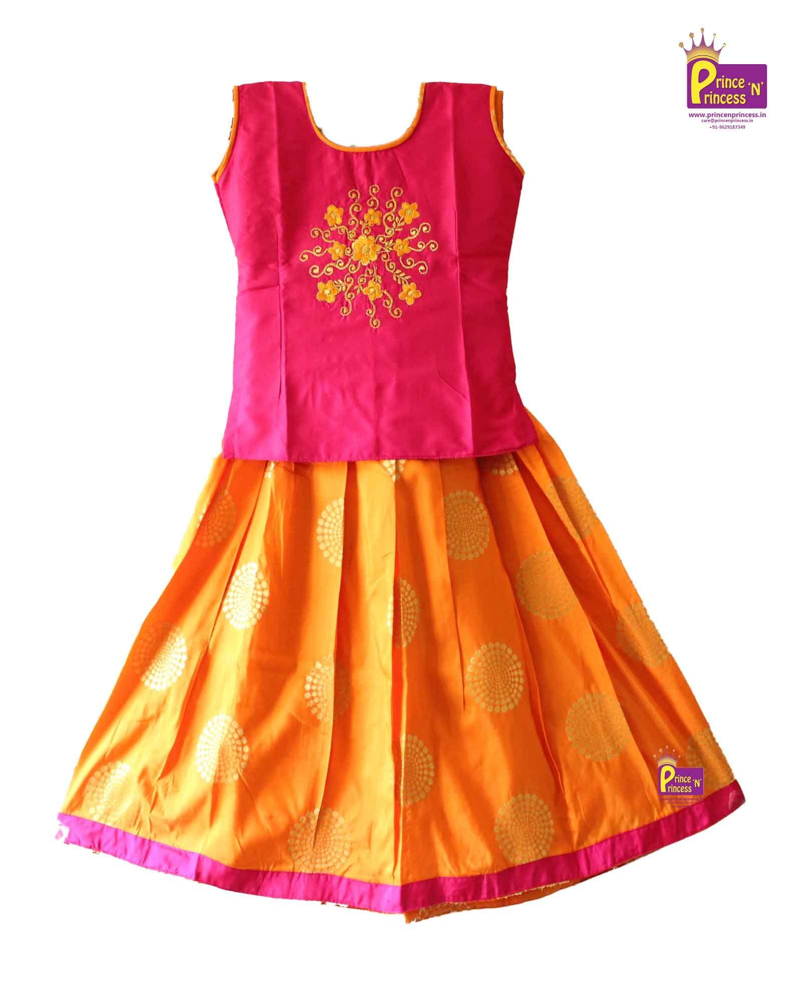 e6db7adb6 Kids orange pink Designer Pavadai . Pattu pavadai . Pattu Langa . Kids  Traditional Ethnic Pattu Pavadai