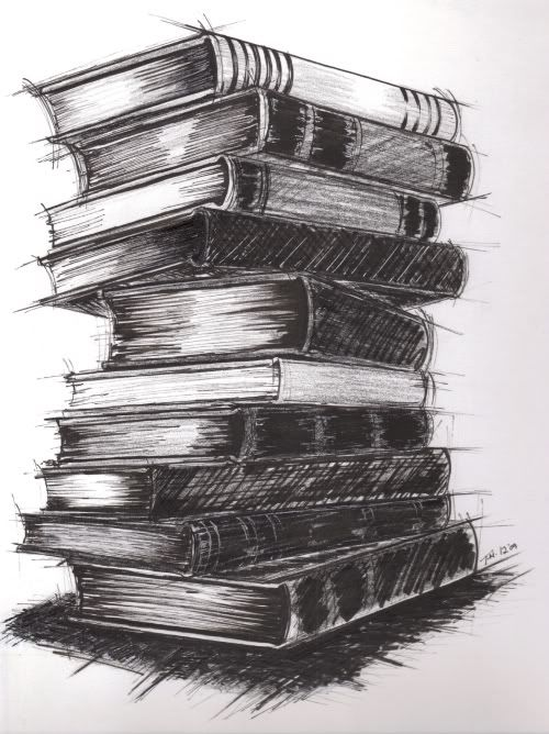 The drawing with the stack of books was for a poster to ...