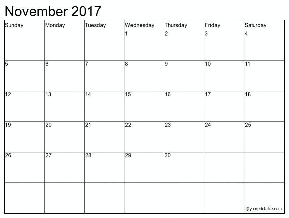 2017 November Blank Calendar November 2017 Calendar Pinterest