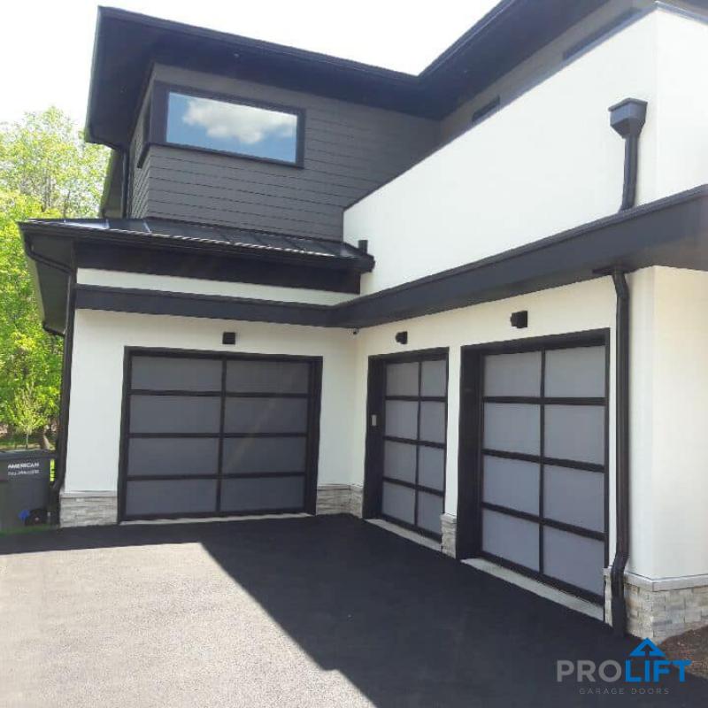 Clopay Avante Full Vision Glass Garage Doors Frosted Panels Black Frames In 2020 Glass Garage Door Garage Doors Doors