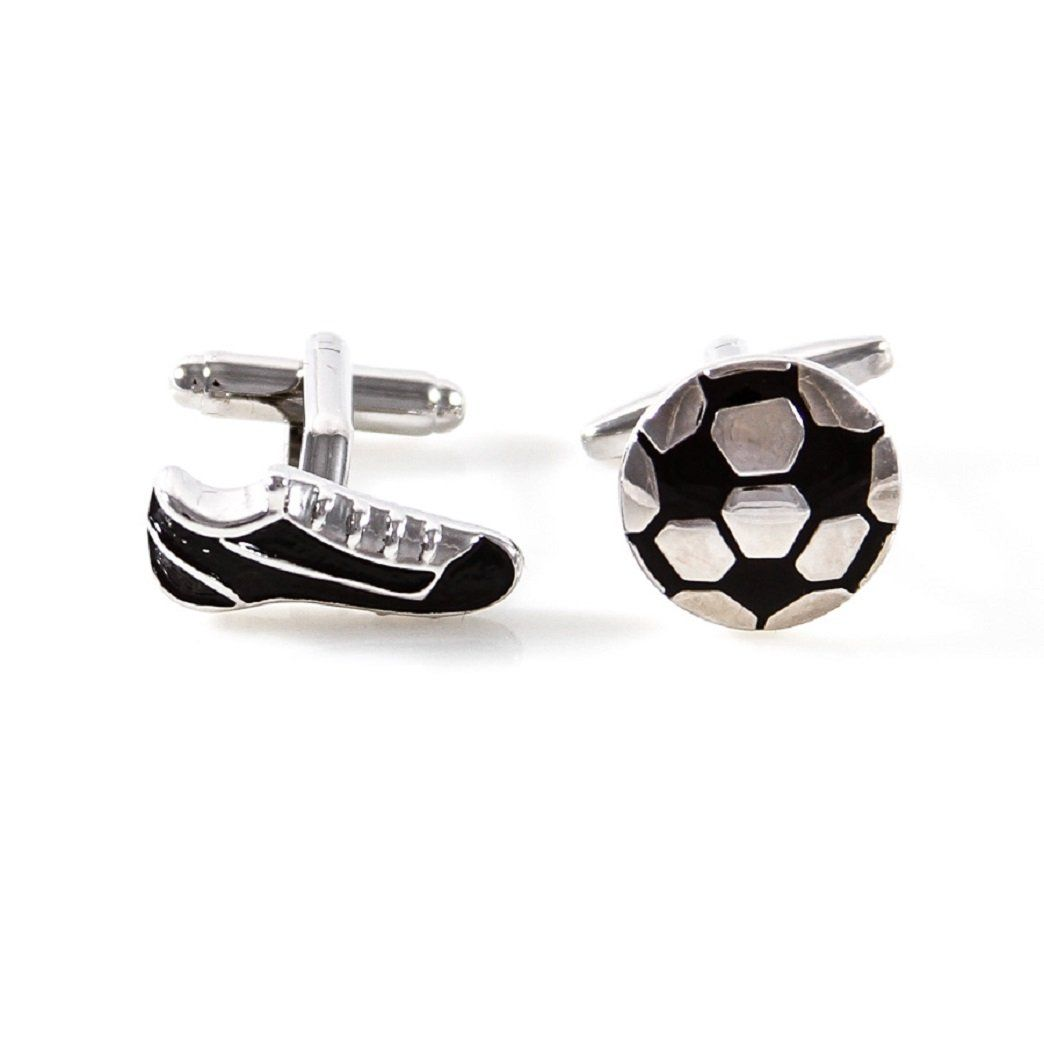 MRCUFF Soccer Ball and Cleats Shoe Pair Cufflinks in a Presentation Gift Box & Polishing Cloth. Soccer Ball and Shoe Cufflinks with a Presentation Gift Box. Arrives in hard-sided presentation box ready for gift giving. 30 day, no reason needed return policy. We make your french cuffs look good!. Microfiber polishing cloth included with set.