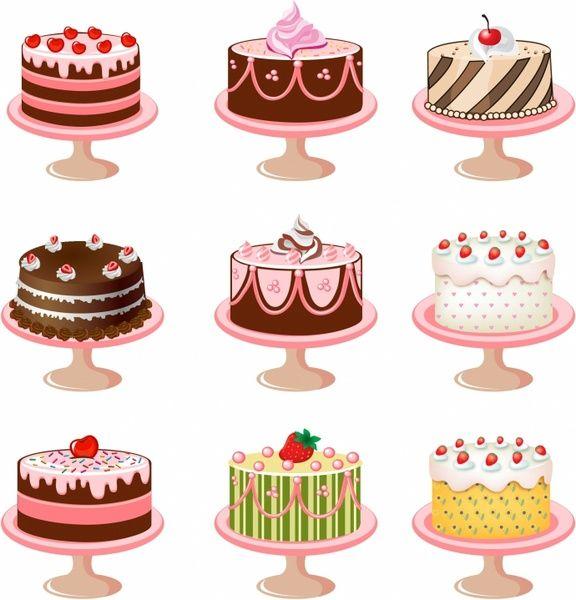 Set Of Cakes Free Vector In Adobe Illustrator Ai Ai Encapsulated Postscript Eps Eps Format For Free Download Cake Vector Cake Illustration Food Art