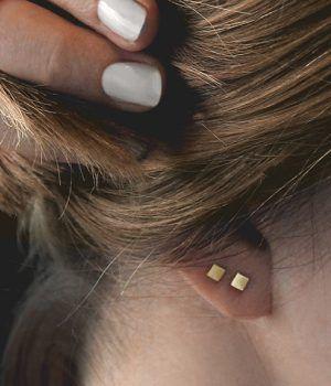 25 Types Of Ear Piercings Square Earrings Studs