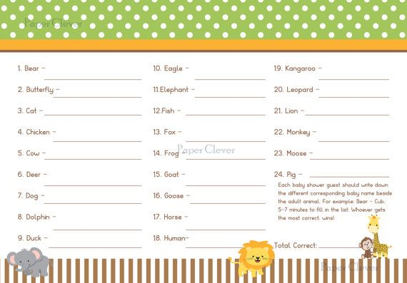 Jungle Theme Baby Shower Game Baby Bingo digital by paperclever, $6.00