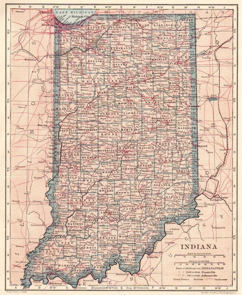 1917 Antique INDIANA Map Vintage State Map of Indiana Gallery Wall ...
