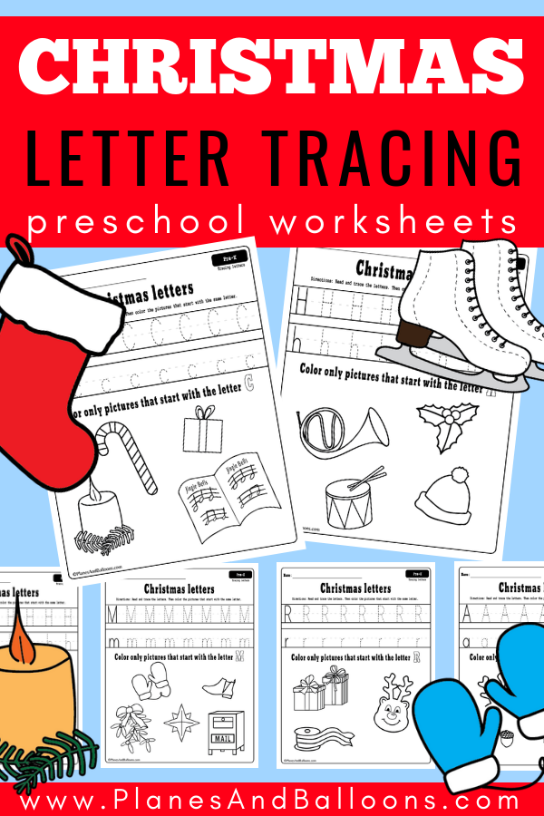 tracing letters preschool worksheets for the holiday season christmas printables for kids. Black Bedroom Furniture Sets. Home Design Ideas