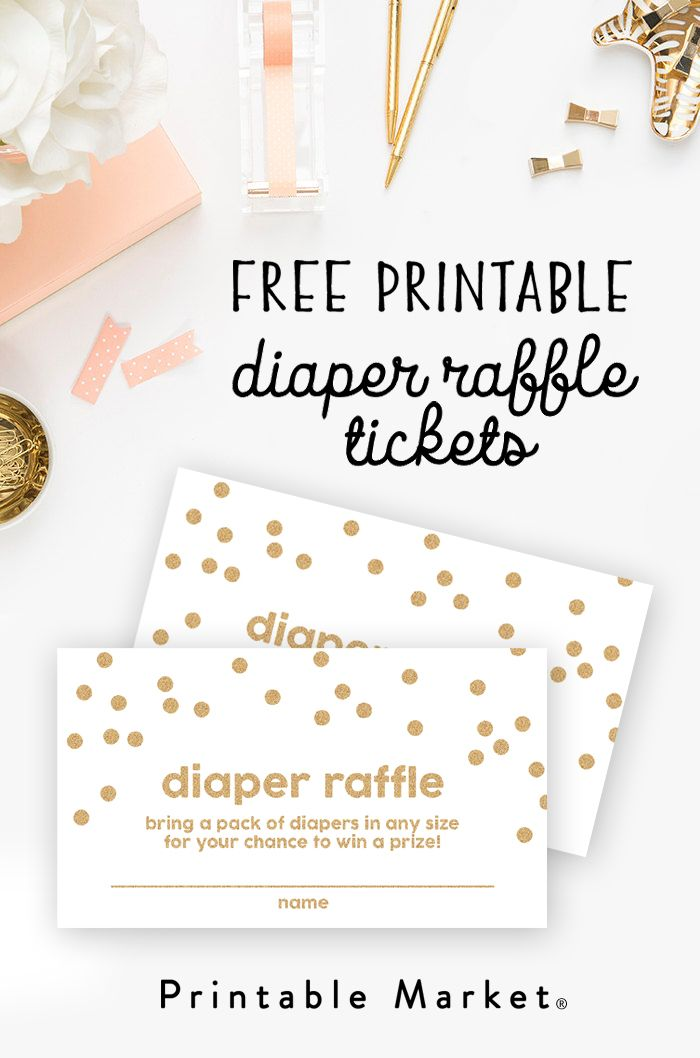 Free Baby Shower Printable - Gold Glitter Diaper Raffle Tickets - printable raffle ticket template free