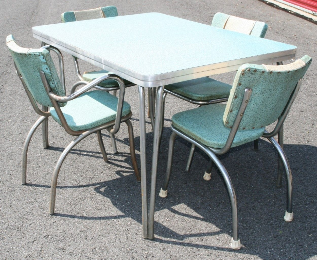 Vtg 50s FORMICA TABLE & 4 CHAIRS mid century atomic retro dinette ...