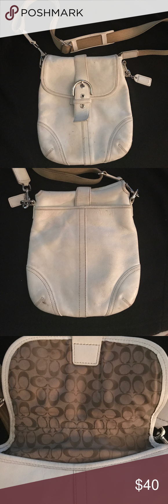 Authentic COACH cross body bag Very Used Coach bag.. white leather(needs cleaning) snap closure strap needs to be repaired but still closes...(see pics) Coach Bags Crossbody Bags