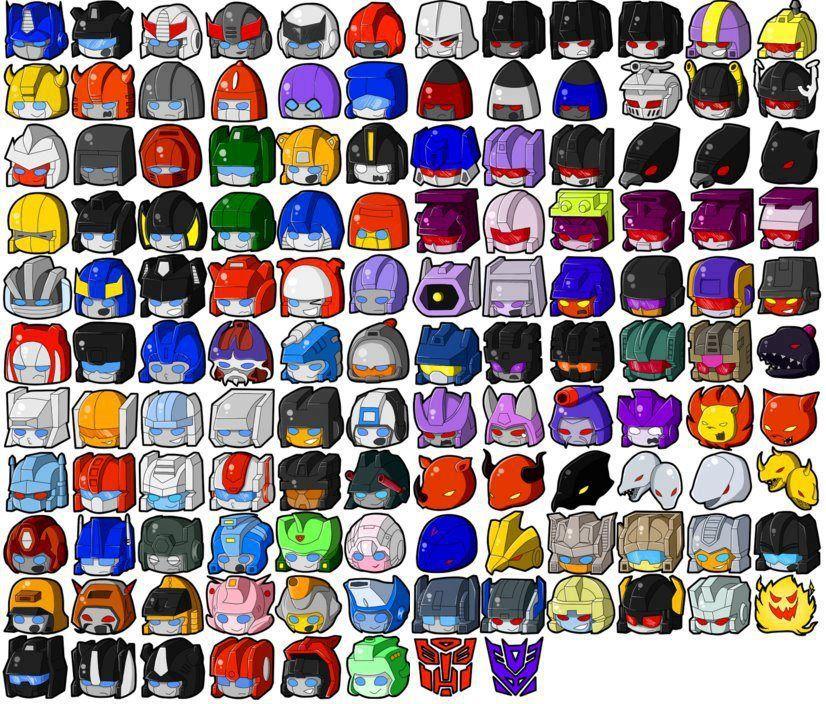 Transformers littles! (id in process) l to r, 1st row: optimus prime, jazz, prowl, bluestreak, ratchet, ironhide, megatron, starscream, skywarp, thundercracker, ?, blitzwing 2nd row: bumblebee, cliffjumper, brawn, powerglide, ?, beachcomber, thrust, ramjet, dirge, bombshell, kickback, shrapnel 3rd row: ?, ?, warpath, hoist, bumblebee again?, preceptor, soundwave, rumble, frenzy, laserbeak, buzzsaw, ravage 4th row: seaspray. sideswipe, sunstreaker, hound, mirage,