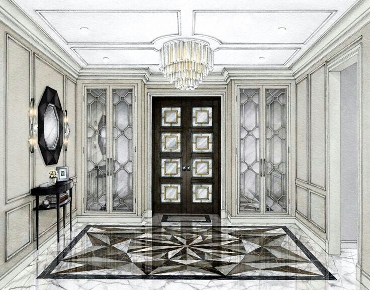 Drawing Interior Rendering Design Sketches Inspiration Architecture Perspective Sketch Entry Hall Entrance
