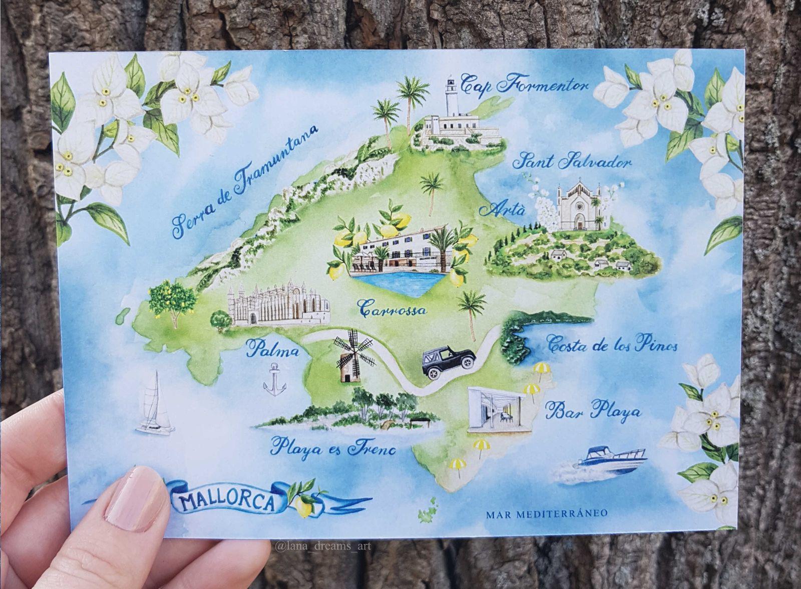 Hand Painted Wedding Map Destination Wedding Mallorca