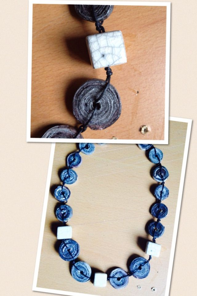 Anna Meroni, necklace, newspaper and raku beads - carta di quotidiano e ceramica raku