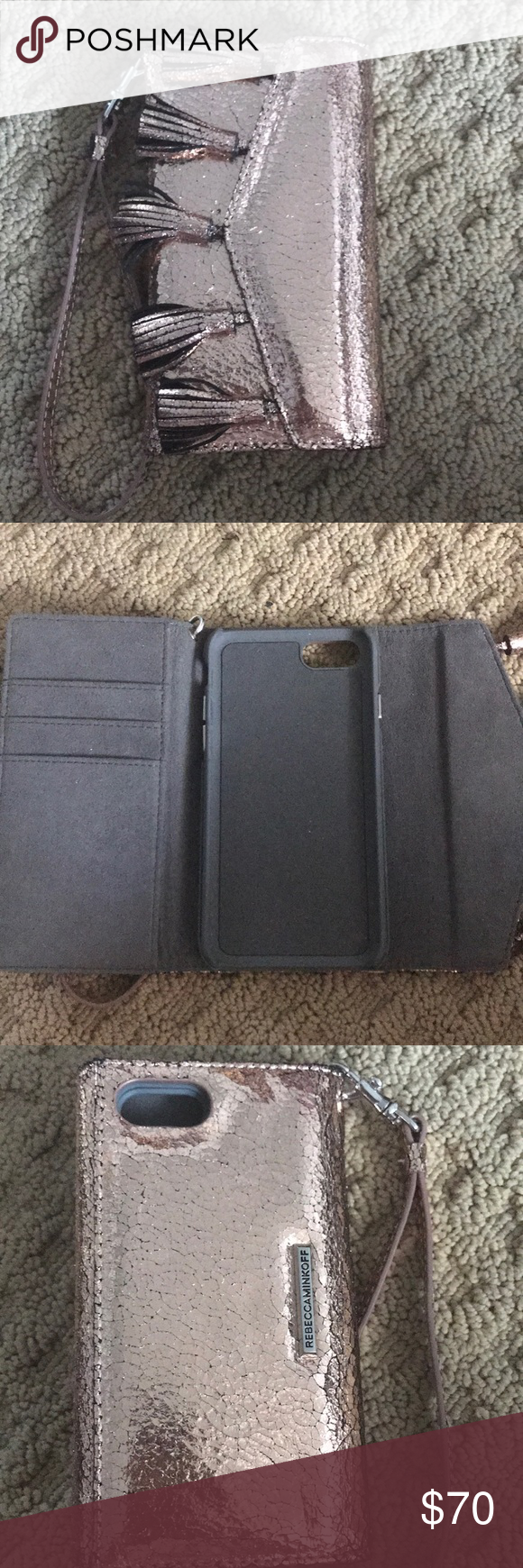 Rebecca Minkoff Phone Case Rebecca Minkoff metallic pink phone case. Fits an iphone 6/7, and has three card holders. Never used and authentic. No trades Rebecca Minkoff Accessories Phone Cases