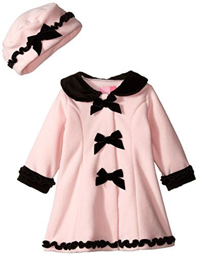 Goodlad Baby Baby Girls'' Bows Velour Trimmed Fleece Coat, Bows Velour Trimmed Fleece Coat, 18 Months
