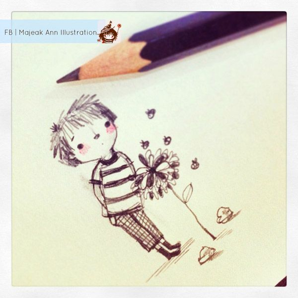"""Bee Boo Boy"" doodle by Majeak Ann He likes flowers and love bees. •.• www.majeakann.wordpress.com"