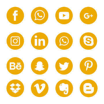Yellow Social Media Icons Set Logo Symbol Social Icons Logo Icons Media Icons Png And Vector With Transparent Background For Free Download Social Media Icons Social Icons Media Icon