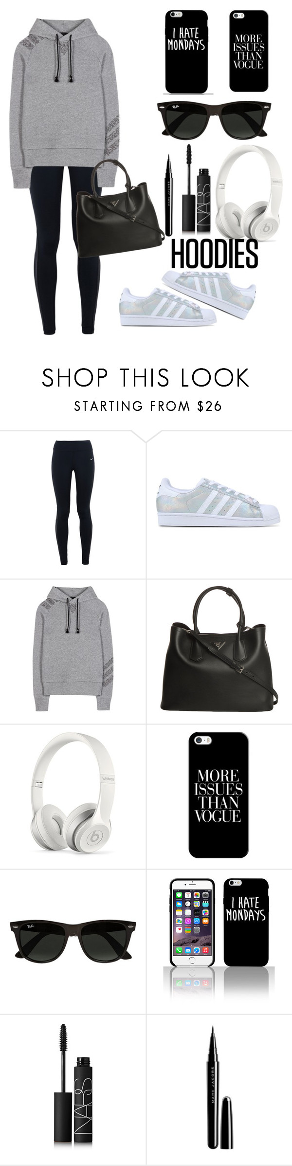 """Hoodie Casual Street Style"" by daphneev11 ❤ liked on Polyvore featuring moda, NIKE, adidas Originals, Y-3, Prada, Beats by Dr. Dre, Casetify, Ray-Ban, NARS Cosmetics y Marc Jacobs"
