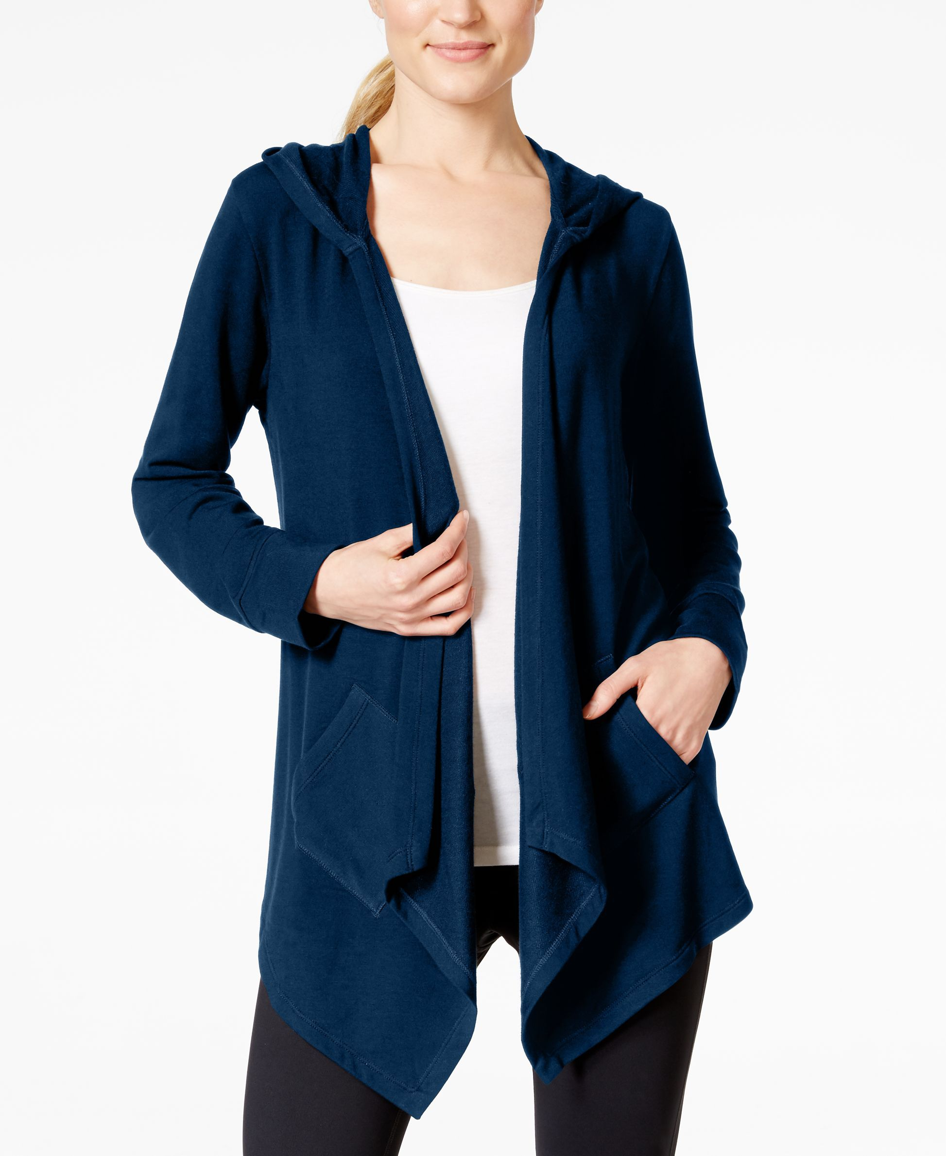 Style & Co. Sport Open-Front Hooded Waterfall Cardigan, Only at ...
