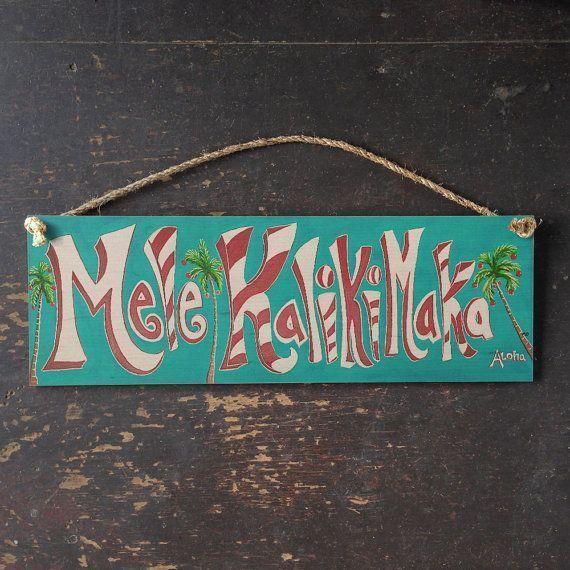 Mele Kalikimaka Sign Hawaii Christmas Beach Vintage Wood Hawaiian