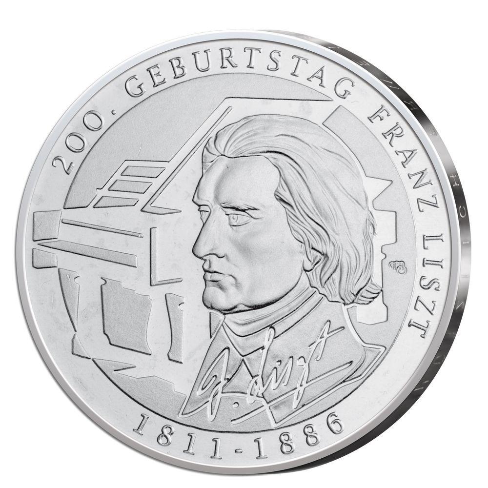 Details Zu Silbermünze Brd 10 Euro Silber Franz Liszt 2011