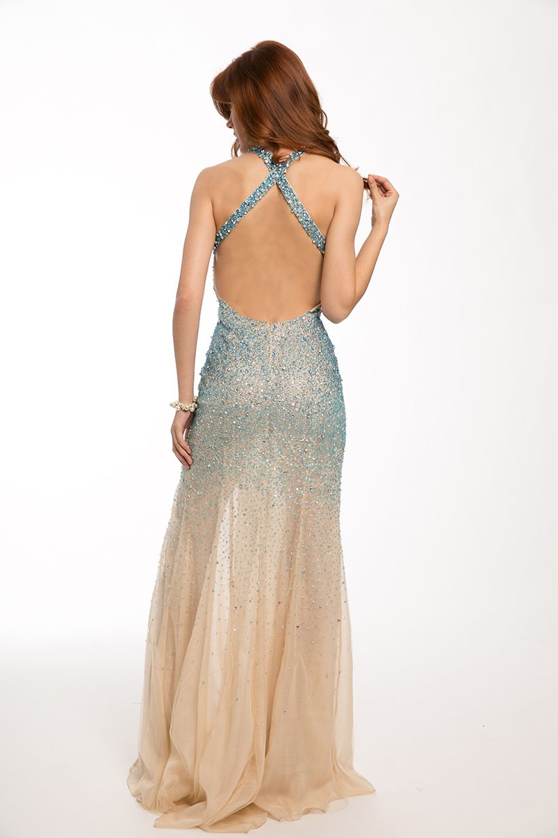 Jovani halter fitted prom dress in turquoisenude so