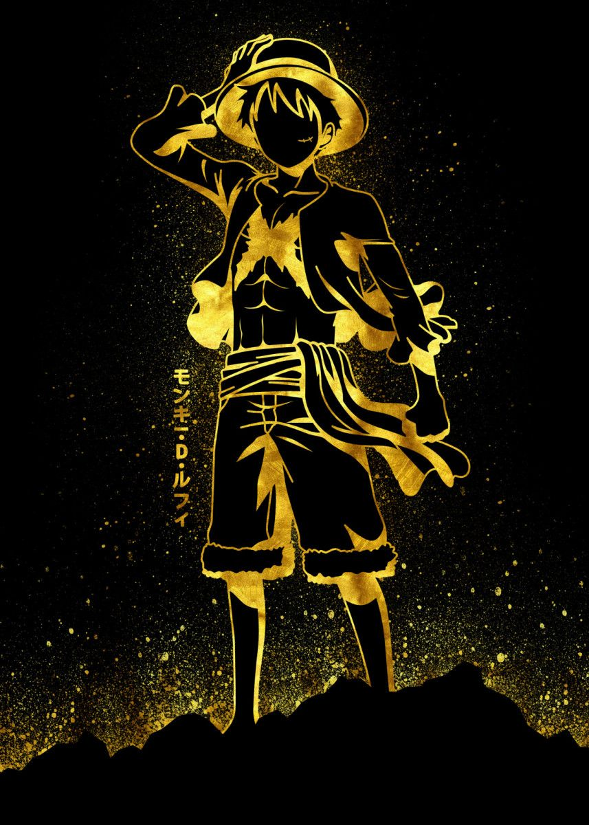 Golden Luffy Poster By Eternal Art Displate One Piece Wallpaper Iphone Manga Anime One Piece One Piece Tattoos