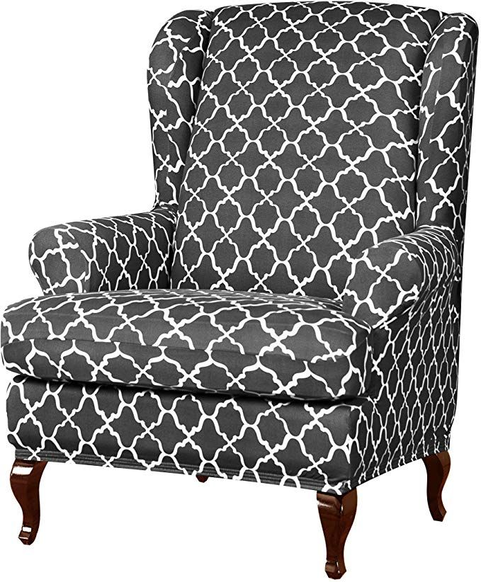 Slipcovers Stripes Chair Covers Super, Grey Wingback Chair Slipcover