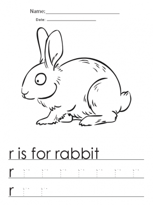 R for Rabbit Worksheets for Kindergarten Thanksgiving