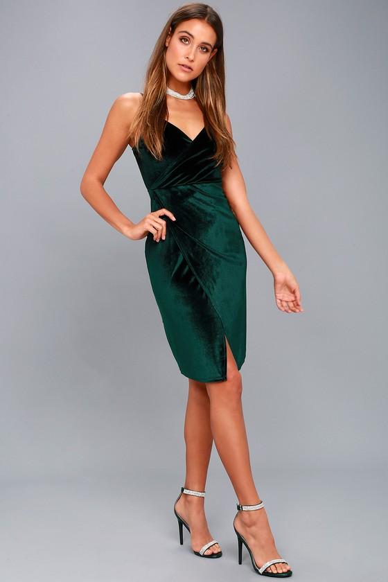 0bdf10848c4e Lulus | Honey Love Dark Green Velvet Bodycon Wrap Dress | Size Medium |  100% Polyester