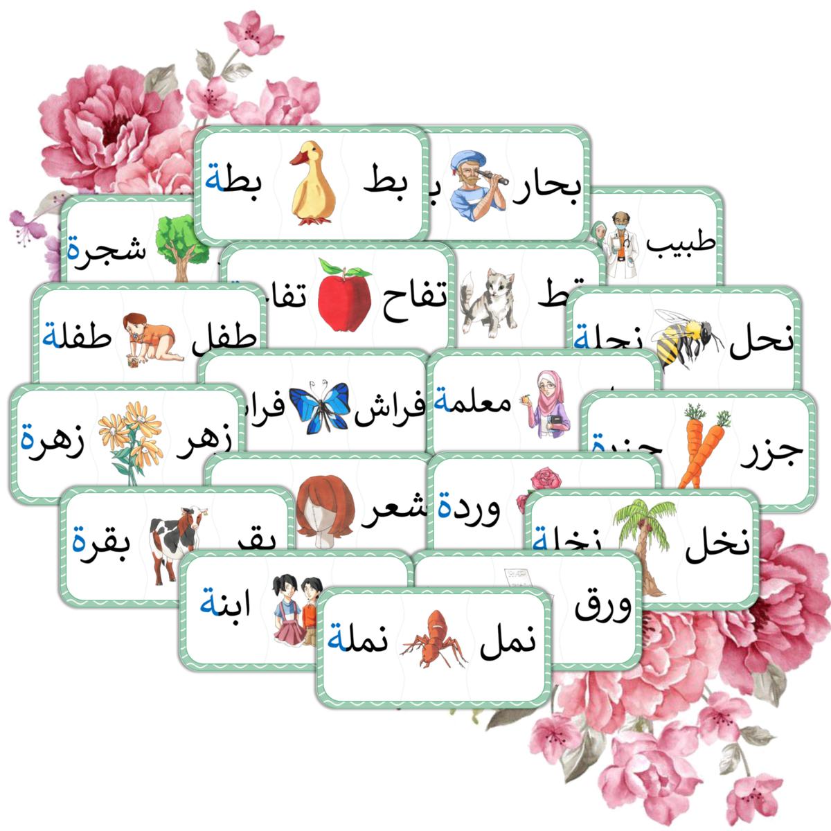 بطاقات التاء المربوطة 20 بطاقة Alphabet Printables Arabic Worksheets Arabic Books