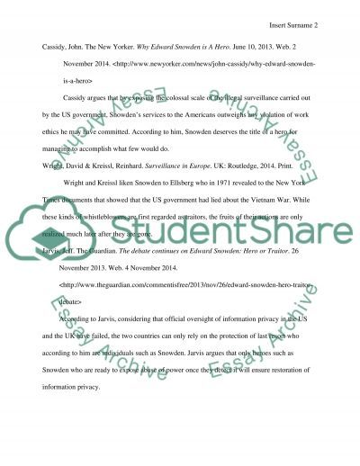 Edward Snowden: Hero or Traitor - Assignment Example   Essay ...