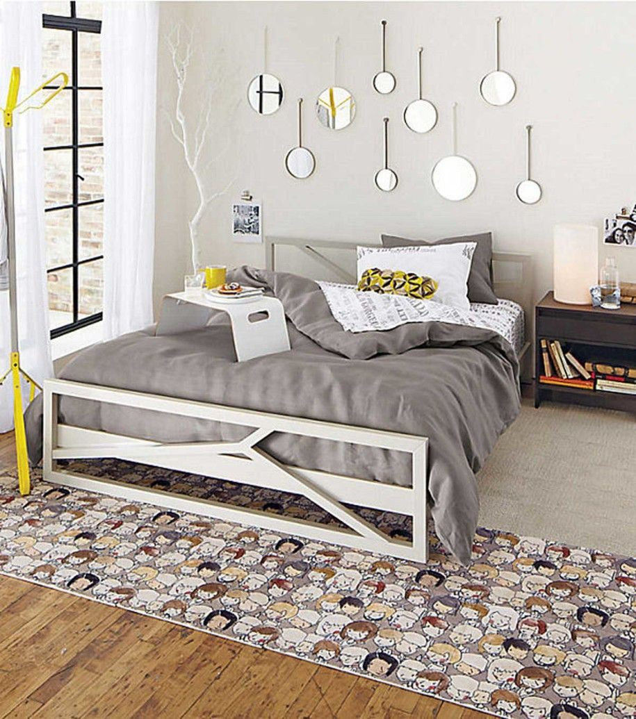 teen bedroom girl Yellow gray and